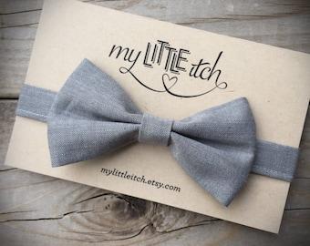 Grey Bow Tie, Grey Baby Bow Tie, Wedding Bow Tie, Gray Baby Bow Tie, Groomsmen Bow Tie, Mens Bow Tie, Baby Wedding Bow Tie, Baby Ring Bearer