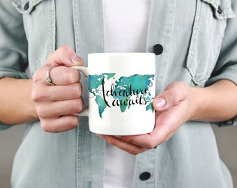 Adventure Awaits Travel Quote Mug Office Gifts for Travelers - World Map Mug Going Away Gift - Travel Love Coffee Mug Travel Gifts Map Mug