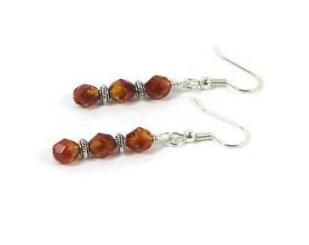 Orange Czech Crystal and Silver Earrings