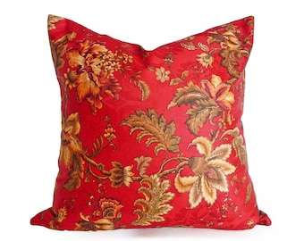Floral Pillows, Red Pillow Covers, Red Floral Pillow, Country Cushions, Jacobean Pillow, Red Gold Pillow, Country Decor, 12x18, 16x16, 18x18