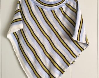 Girl's Vintage Blue Stripe Knit Poncho