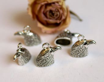Cap ends X 5 Eagle head bells Tibetan silver