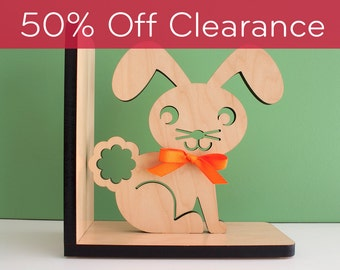 Wood Nursery Animal Bookend: Woodland Bunny Rabbit Baby, Kids Wooden Forest Room Decor