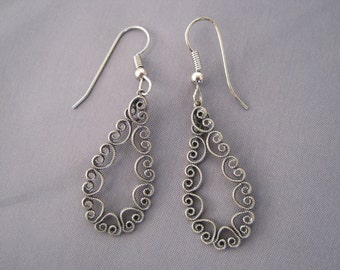 Vintage Silver Lacy Teardrop Earrings