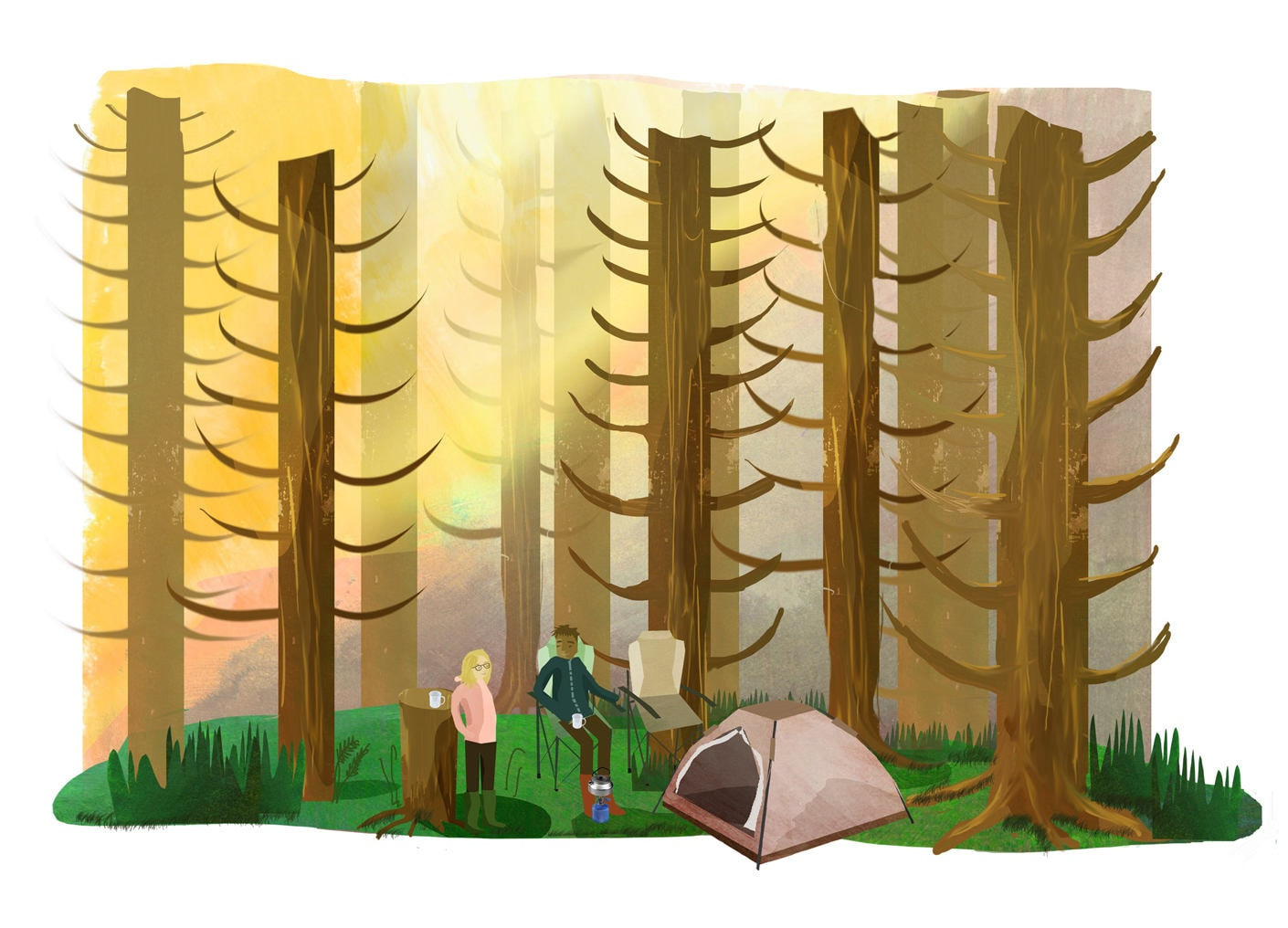 camping couple art printA4forest printtent