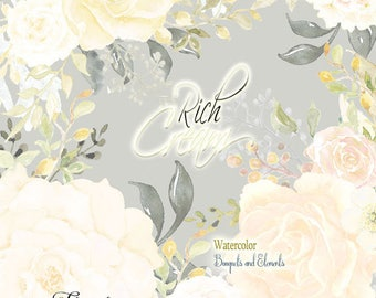 Floral clipart roses, watercolor clipart, Cream roses, ivory, greenery, gray, dusty miller, roses clipart floral, white, wedding clipart,