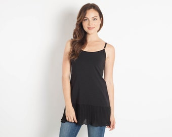 Black Chiffon Shirt Extender Camisole Bohemian Separates