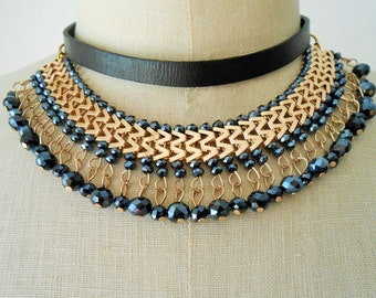 Collar bib, Collar bib necklace, Collar statement bib
