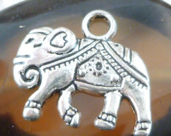 Indian Decorated Elephant Charms, Antique Silver (4) - S119