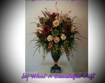 Floral Arrangement, Large Silk Tuscan Floral Centerpiece, SHIPPING INCLUDED Elegant Luxury Designer Arrangement, Foyer,Dining Table Décor