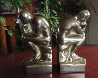 Pair Solid Brass Bookends to Hold Books The Thinker Made in Korea Home and Living décor C383