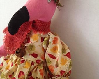 Fall Flamingo Doll, Flamingo Decor, Art Doll, Dolls Handmade, Home Decor Doll, Primitive Art Doll, Whimsical Decor, Fall Decor
