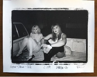 Hole - Courtney Love & Caroline Rue outside the Jabberjaw, Los Angels Ca. circa: 1989, PHOTOGRAPH silver gelatin  print from negative - KRK