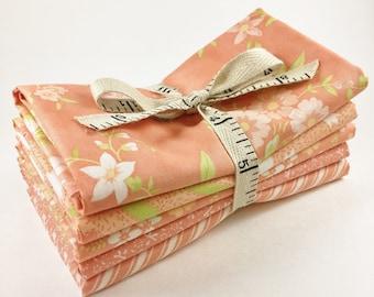 Ella and Ollie Fabric - Fat Quarter Bundle - Fig Tree Fabric Bundle - Moda Fabric - Apricot - 5pc