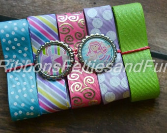Mermaid grosgrain ribbon and bow center bundle, mermaid and fish bottle caps, sewing supplies, grosgrain, polka dot ribbon