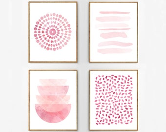 Pink art Prints Set of 4 Wall art Abstract Watercolor Paintings Dots Dashes Stripes Brushstrokes Nursery art Blush Rose Minimalist Printable