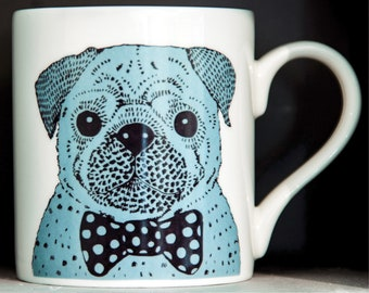 Illustrated Pug in a Bow Tie China Mug