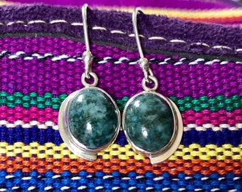 Silver-Grey Jade Earrings