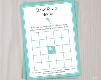 Baby & Co. BINGO Game, Baby Shower Gift Bingo, Printable Game, Robin's Egg Blue, Baby and Co, Present Opening Game, Breakfast at