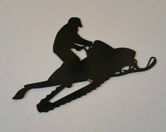 Snowmobile with rider metal art, snowmobile metal art, snowmobile wall sign, snowmobile decor