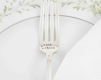 Eat Clean, Healthy Inspiration, Vegetarian Gift Idea, Foodie Gift, Clean Eating, Gift Idea Under 25, Stamped Fork