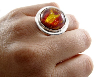 Fire Red Ring - Red Resin Ring - Painted Ring - Red Paint - Painted Resin Ring - Sterling Resin - 100% recycled sterling silver
