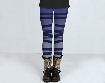 Blue bandage leggings, striped, yoga pants, footless tights, comfortable, ballerina