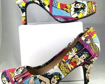 Wonder Woman Fabric Low Heels