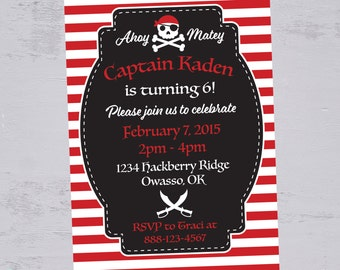 Pirate Birthday Invitation | Pirate Birthday Party | Pirate Party | Pirate Invitation | Boy Party | Printable Invitation | The Party Darling
