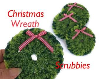 Dish Scrubbies, 4 Christmas Wreath Dish scrubbers, Crochet Scrubbies, Pot Scrubbers, Scrubbies, Scrubby, Pot Scrubby, Hostess Gift