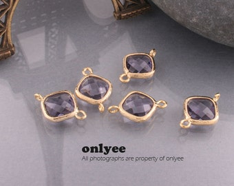 2pcs-10mmX10mm14K Gold plated Brass Faceted Diamond Glass Connectors-Amethyst(M301G-C)