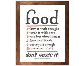 Food Rules Poster - Buy It With Thought, Less Wheat Meat, Don't Waste, Sign, Kitchen, Conserve, Historic