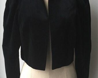 Black Velvet Formal Coat/ Vintage Velvet Coat /Vintage Velvet Jacket /80s Vintage Velvet Top