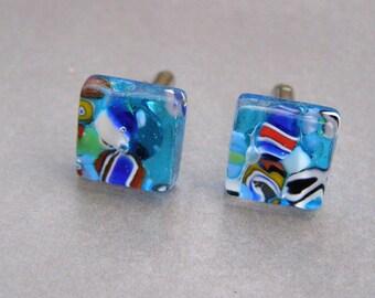 Cufflinks-Glass cufflinks-Handmade glass cufflinks-boutons de manchette-gemelli in vetro in 4 colors