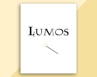 Lumos - Harry Potter Quote - Printable Art - Digital Download - Minimalist