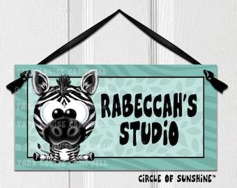 Door Sign, Zebra, Teal, Safari Jungle Animals, Home Decor, Office Decor, School Classroom Decor