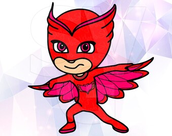 PJ Masks Owlette Layered SVG DXF Eps Cut Files Cricut Designs Silhouette Cameo Superhero Party Supply Decoration Stencil Vinyl Tshirt Decal