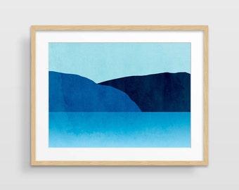Blue Art Print, Beach Decor, Blue Abstract Art, Large Wall Art, Large Abstract Art, Minimalist Art, Beach Print, Coastal Wall Art Decor