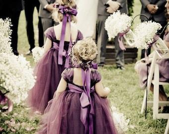 Weddings - Girls Dresses - Hand made dress - Tulle Dress - Ivory Dress -Plum Flower Girl Dress 6 7 8