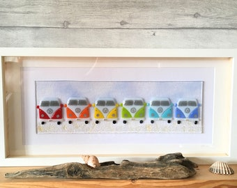 Camper van, Fused Glass Art, Rainbow Camper Van, Rainbow Glass, Campervan Decor, Campervan  Art, , Beach Decor, Seaside Decor, Camper van