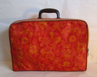 Vintage 1960s Vinyl Luggage Orange Floral Red Flower Suitcase 60s Carry On Fabric Luggage