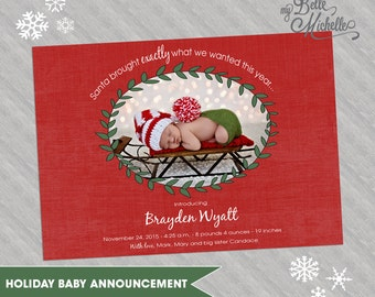 Personalized 5x7 Photo Christmas Holiday Baby Announcement
