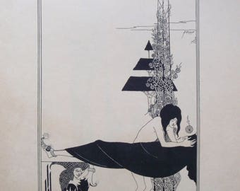 Aubrey Beardsley Lithograph - A Platonic Lament - Illustration For Oscar Wilde Salome - Tragedy in One Act - Art Nouveau Listed Artist