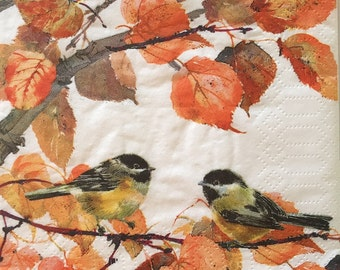 "3 Decoupage Beverage Napkin - Autumn Birds 10"" x 10"""