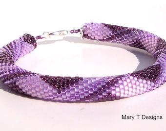 Shades of Purple Bead Crochet Bangle Bracelet
