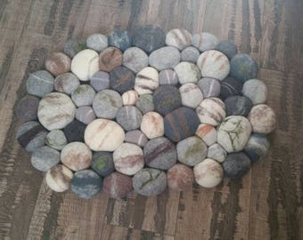 Felted Rug, Home Decor, Felted Pebble, Super Soft, Pebbles With Moss