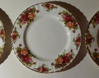 "Royal Albert Old Country Roses Bone China 8.25"" Salad/Luncheon Plates Lot 0f Three (3)"