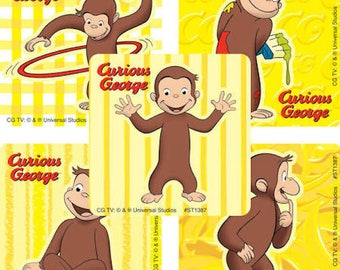 25 Curious George Classic Stickers Party Favors Monkey Teacher Supply Envelope Seals Scrapbooking Birthday Idea