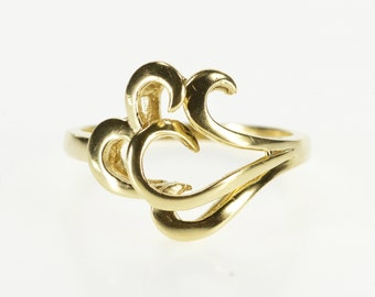 14K Tiered Layered Design Spiral Heart Wave Ring Size 8.5 Yellow Gold