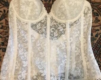 Strapless vintage carnival brand white bridal backless bra/torsolette/corsolette